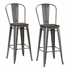 "Dorel Home Products Luxor 30"" Metal Bar Stool with Wood Seat, Set of 2, Multiple Colors - Walmart.com"