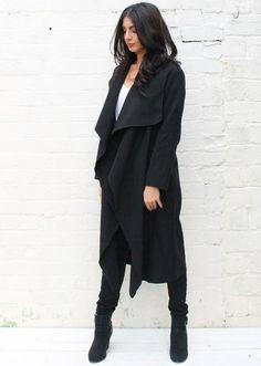 Premium Felt Waterfall Drape Flo Throw On Coat in Black