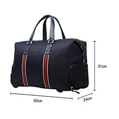 YAAGLE Mens Womens Spacious Casual Waterproof Oxford 20-Inch Trolley  Top-handle Handbag Weekend Overnight Travel Rolling Wheeled Duffle Holdall  Hand Luggage ... c44c62c6a7924