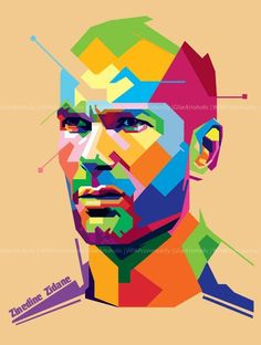Zinedine Zidane, one of the greatest to grace the Football Pitch. Zinedine Zidane, Football Design, Football Soccer, Football Pitch, Basketball Uniforms, Uefa Super Cup, Pop Art Portraits, Sports Graphics, Steven Gerrard