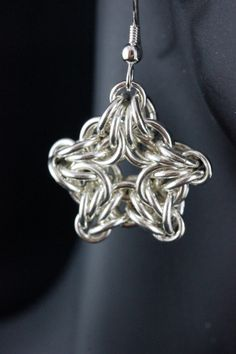 Sterling Silver Chainmail Earrings Byzantine Star Design by MGGems, $40.00