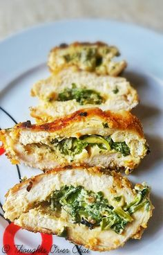 Quick and easy stuffed chicken breasts with cheese and spinach
