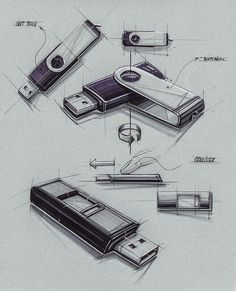 Sketches we like / Vintage / USb Stick / marker Render /
