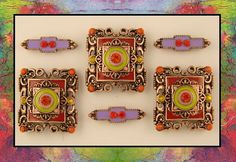 Enamel Bollywood Squares!  Beads in Periwinkle Blue Gap Bead Store