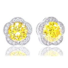 18k White Gold Plated Cubic Zirconia Flower Halo Stud Earrings (2.30 carats) - Yellow