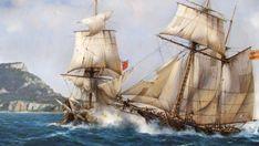 Presa frente a Gibraltar, de Augusto Ferrer-Dalmau Nautical Artwork, Sailing Ships, Sailing Boat, Spanish Armada, Renaissance Paintings, Sea Art, Tall Ships, Battleship, Pe Mare