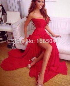 2015 nouveau sexy robes de bal rouge amour de fente latérale sleevess longueur au sol volant conception simple une ligne soirée robe dans Robes de bal de fin d'année de Vêtements & accessoires sur AliExpress.com | Alibaba Group