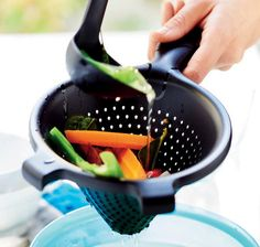 Made from durable and trusted Tupperware grade material and featuring an ergonomically designed handle that is easy to hold for secure use, this Sieve is a reliable essential in any kitchen. Featuring a standard but rejuvenated sieve design with a cone finish and two handles that can also act as legs in your sink or bowl when draining off fruits and vegetables, this sieve is upgraded with a modern design that is accommodating to the way you cook in your kitchen today. Perfect for the pr...