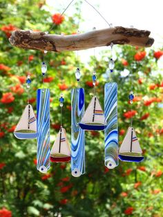 Blue Fused Glass Sailboat Wind chime with by RecycledelicBC