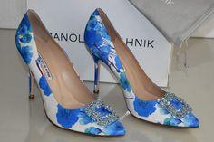 $965 NEW MANOLO BLAHNIK HANGISI 105 BLUE FLORAL SHOES JEWELED 41 42 Wedding | eBay