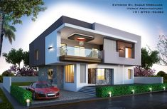 Modern bungalow Exterior By, Ar.Sagar Morkhade (Vdraw Architecture) +91 8793196382