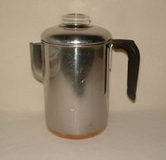 Vintage Revere Ware Coffee Pot Stove Top Perculator Copper Clad Bottom Complete I still use one when I have the time. Makes the best cup of coffee. Clinton Il, Coffee Cups, Coffee Maker, Revere Ware, Those Were The Days, Retro Home, Kitchen Redo, Kitchen Essentials, Stove
