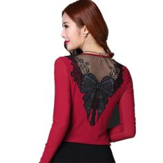 b379f2ef00de5 New fashion back PU Leather butterfly Patchwork Blouses Sexy Women Slim Fit Long  Sleeve Lady Shirt lager size Tops Blusas. Women s Clothing