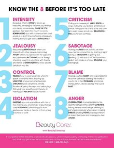 Psychology infographic and charts Eight signs of an abusive relationship. Infographic Description Eight signs of an abusive relationship Toxic Relationships, Relationship Advice, Relationship Red Flags, Signs Of Controlling Relationship, Not Happy In Relationship, Healthy Vs Unhealthy Relationships, Controlling Men, Relationship Repair, Tips