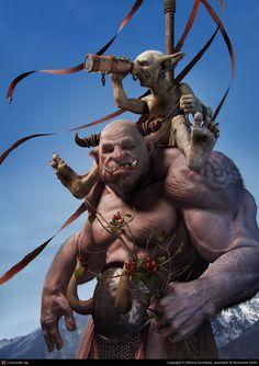 CGTalk - Mountain Patrol, Michal Suchánek (3D)    #character #portrait #fantasy #troll #horns #fangs