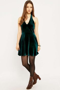 Pins & Needles Velvet Halter Neck Flippy Dress