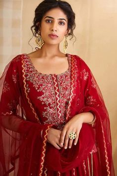 Indian Bollywood Designer Festival Embroidery Work Red Kurti And Skirt With Dupatta Dress.Special For Women.Free Express Shipping In USA/UK.