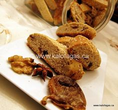 Love these Greek-style biscotti -- Paximadia With Figs, Star Anise & Walnuts - Kalofagas - Greek Food & Beyond