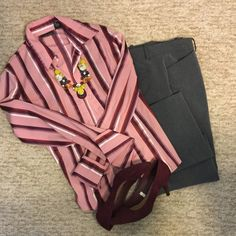 Striped button up blouse Striped button up blouse featuring falls hottest colors - Marsala and rose pink. Polyester/ cotton/ nylon/ spandex blend. New York & Company Tops Button Down Shirts