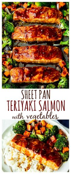 Sheet Pan Teriyaki Salmon and Veggies - who doesn't love a simple sheet pan meal with so much flavor? This dinner recipe is perfect for busy weeknights, yet impressive enough for entertaining guests. It's also great for meal prep. You can easily Tasty Meal, Healthy Meal Prep, Healthy Recipes, Simple Meal Prep, Veggie Meal Prep, Free Recipes, Healthy Food, Baked Teriyaki Salmon, Seafood Recipes