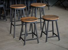 Custom Made Reclaimed Barnboard & Custom Raw Steel Bar Stools