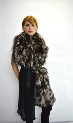 Real fox / Swakara fur cowl wrap collar loop scarf by BeFur