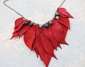 Leather Leaf Necklace - Maximum Raspberry Leaves with Blue Agate - Modern Pocahontas Collection