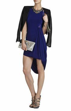 Liza Asymmetrical Draped-Skirt Dress   BCBG