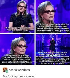 R. I. P. CARRIE FISHER, MAY SHE FLIP US OFF FROM HEAVEN. NO IM NOT CRYING YOU ARE
