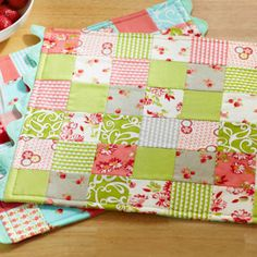 Use charm squares to make easy place mats with a patchwork pattern.