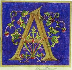 Diane Calvert - Official Homepage - Medieval Illuminations For The Century. Calligraphy Letters, Typography Letters, Hand Lettering, Medieval Manuscript, Medieval Art, Alphabet Art, Letter Art, Illuminated Letters, Illuminated Manuscript