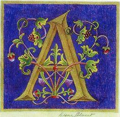 Diane Calvert - Official Homepage - Medieval Illuminations For The Century. Medieval Manuscript, Medieval Art, Alphabet Art, Letter Art, Illuminated Letters, Illuminated Manuscript, Bible Art, Book Art, Beautiful Calligraphy