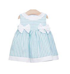 c00e5f1d1 Vestido de rayas turquesas para bebé de Fina Ejerique