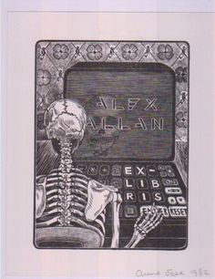 Alex Allan bookplate c.1982 showing a computer...a fascinating footnote on the owner here