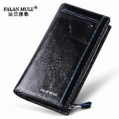 [ 18% OFF ] Falan Mule Business Men Wallet Genuine Cowhide Oil Wax Leather Hand Bag Fashion Long Male Clutch Bag Carteira Portable Wallet