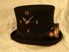 Instant Steampunk - Tick-Tock TopHat and Goggles - working clock in a wool top hat - Copper Steampunk Hut, Steampunk Top Hat, Steampunk Clock, Steampunk Goggles, Steampunk Cosplay, Steampunk Wedding, Steampunk Clothing, Steampunk Fashion, Mad Hatter Top Hat