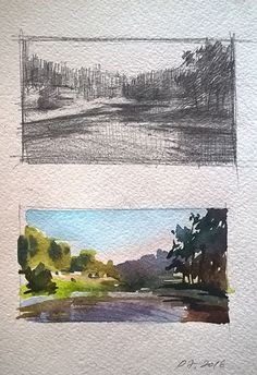 A sketch & the final result in gouache Landscape Sketch, Watercolor Landscape, Watercolor And Ink, Landscape Paintings, Landscapes, Gouache Painting, Painting & Drawing, Watercolor Paintings, Watercolor Sketchbook
