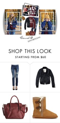 """""""A&F bomber jacket, Jack Wills hoodie & EMU boots"""" by steffiestaffie ❤ liked on Polyvore featuring True Religion, Jack Wills, Abercrombie & Fitch, Emu and Barbour"""
