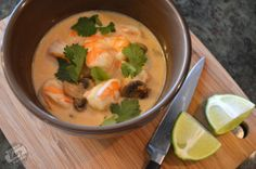 Thai Coconut Soup (make with shrimp or chicken) - Low Carb & Gluten Free - Stupid Easy Paleo