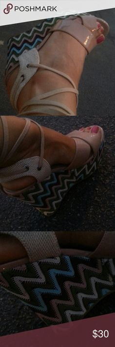 Diba, tan multicolor wedges ,good to go Beige wedges straps , worn twice ,great condition Diba Shoes Wedges