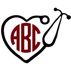 Nurse Stethoscope Heart Monogram Decal with Circle Font - Multiple Colors