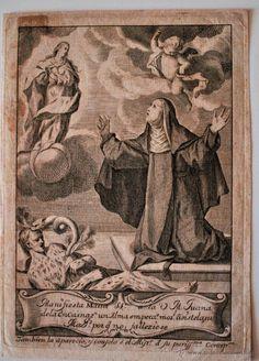 GRABADO DE 1757, MANIFIESTA MARIA SSMMA A LA V. M. JUANA DE LA ENCARNACION.... - Foto 1