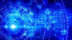 blue computer circuit board background loop - HD stock video clip
