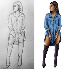 I love comparing sketch and finished version  do you guys like it as well?  Project including this drawing coming soon ✌️ #sketch #fashionsketch #fashiondrawing #fashionillustration #drawing #illustration #art #artist #fashionable #nataliamadej