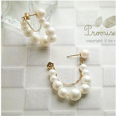 Wholesale Discount Jewelry European And American Fashion Creative Imitation Pearl Earrings String Of Retail And Wholesale - Pearl Beads, Pearl Jewelry, Beaded Jewelry, Handmade Jewelry, Silver Jewellery, Fashion Earrings, Fashion Jewelry, Fashion Fashion, Korean Fashion