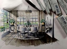 Love Drawing and Design? Finding A Career In Architecture - Drawing On Demand Interior Design Classes, Interior Design Renderings, Drawing Interior, Interior Decorating Tips, Interior Rendering, Interior Sketch, Croquis Architecture, Architecture Portfolio, Interior Architecture
