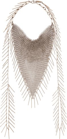 Isabel Marant Silver Fringed Chainmail Necklace | cynthia reccord