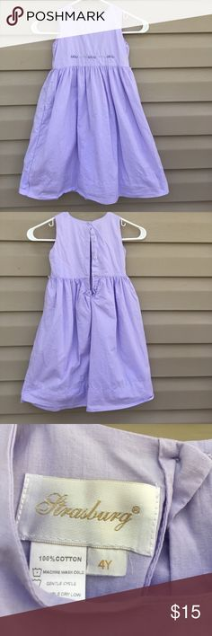 Strasburg girls lavender sleeveless dress Very nice dress fully lined buttons in back, hand embroidered flowers on bodice, gathered at waist, missing tie belt. 100% cotton, no stains, snags or holes. EUC Stasburg Dresses Casual