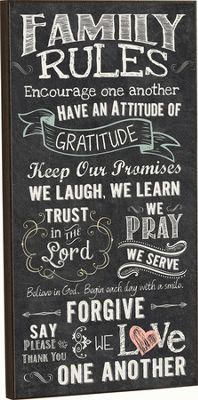 Family Rules, Chalkboard Wall Art I would love this for my home Chalkboard Wall Art, Chalkboard Designs, Chalkboard Ideas, Chalkboard Scripture, Chalkboard Sayings, Vintage Chalkboard, Diy Signs, Wall Signs, Family Rules Sign