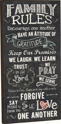 Family Rules, Chalkboard Wall Art          -